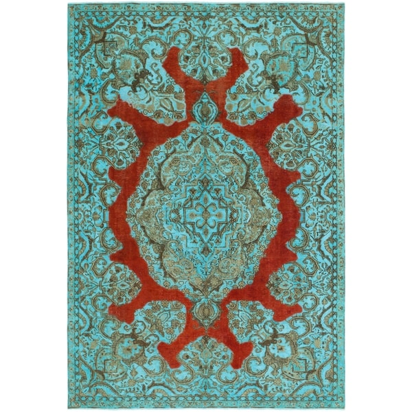 Hand Knotted Ultra Vintage Wool Area Rug - 7' 3 x 10' 9