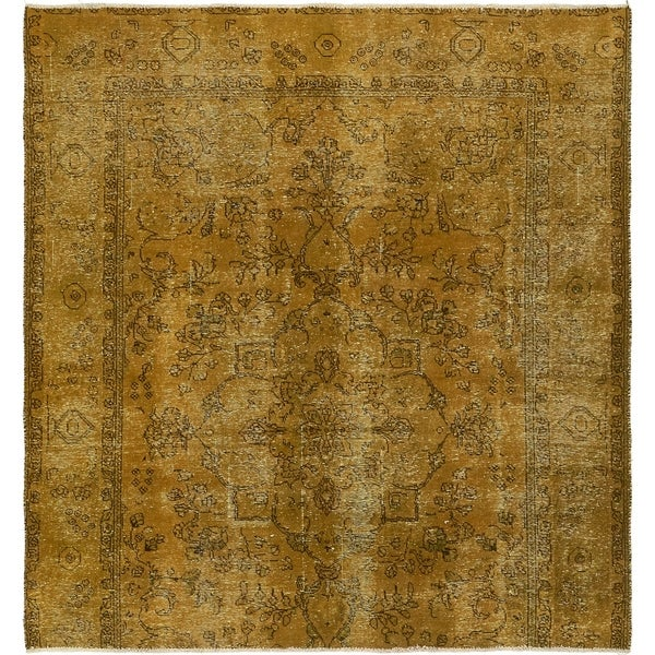 Hand Knotted Ultra Vintage Antique Wool Square Rug - 6' 8 x 7'