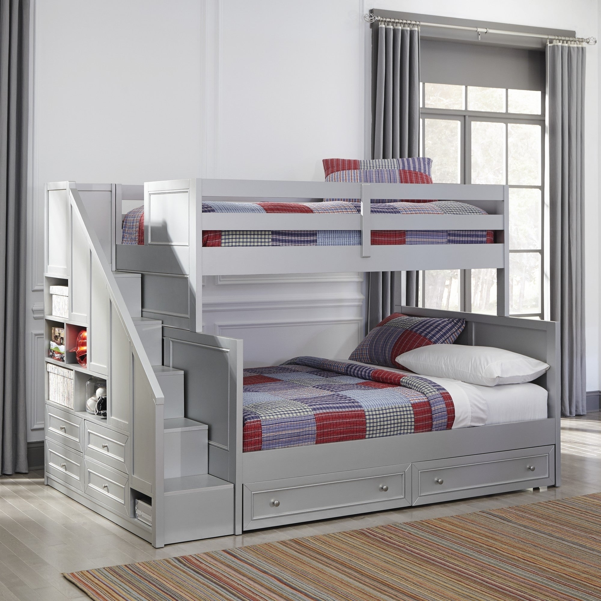 Picture of: Copper Grove Dugaresa Grey Wood Twin Over Full Bunk Bed With Steps And Lower Storage Drawers Overstock 24079063