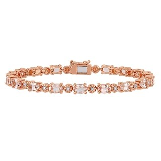 Miadora Rose Plated Sterling Silver Morganite and Diamond Accent Tennis Bracelet