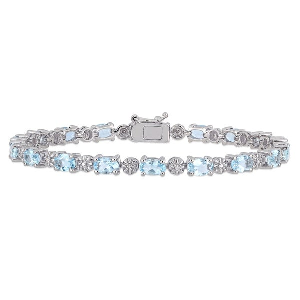 Miadora Sterling Silver Aquamarine and Diamond Accent Tennis Bracelet. Opens flyout.