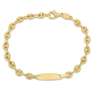Miadora 10k Yellow Gold Mariner Link Engraveable ID Bracelet