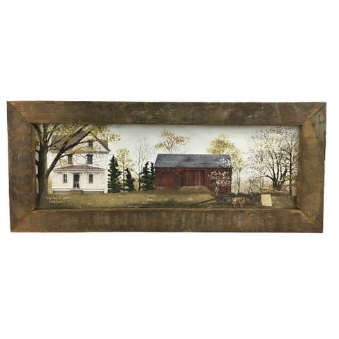 Spring Flowers Print with Rustic Reclaimed Tobacco Lath Frame - Multi-color