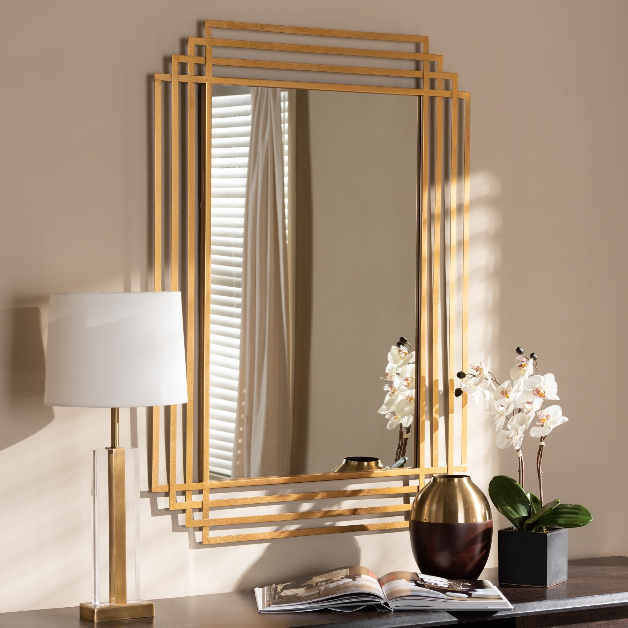 Shop Art Deco Antique Gold Rectangular Wall Mirror By Baxton Studio Antique Gold Overstock 24079541
