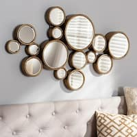 Contemporary Antique Gold Bubble Wall Mirror by Baxton Studio - Antique Gold