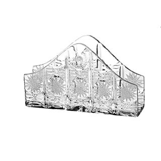 """Majestic Gifts European Quality Hand Cut Crystal Standing Napkin Holder - 6.5"""" Long - Made in Europe"""