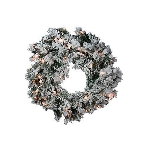 Direct Export Prelit Flocked Balsam Wreath