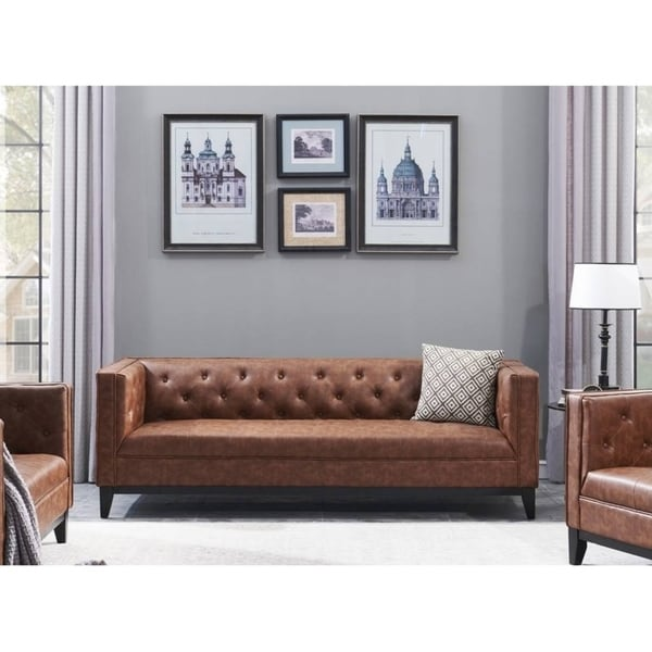Cadman 3-Seat Brown Faux Leather Upholstered Sofa