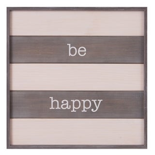 Patton Wall Decor Be Happy Rustic Wood Plank Wall Art Décor - White