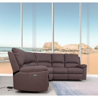 Transtional Brown Fabric Upholstered Power Recline Sectional