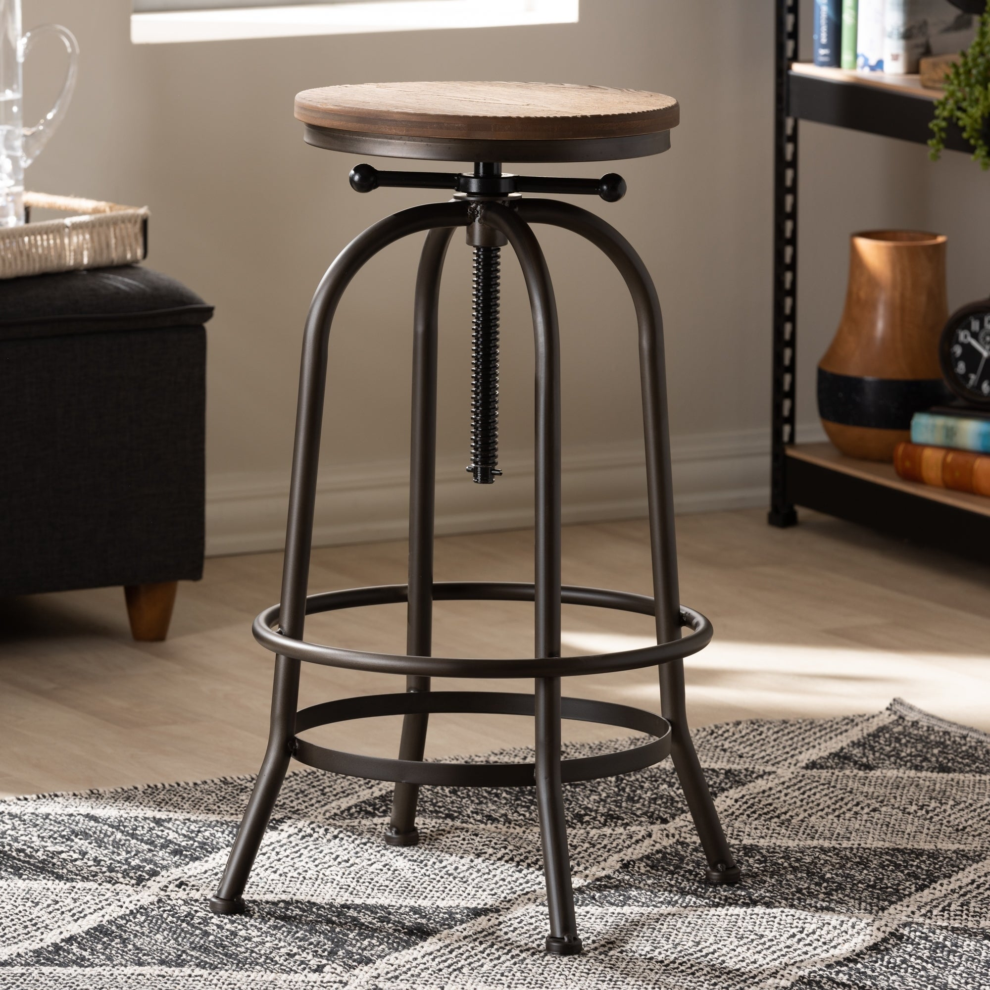 Surprising Industrial Rust Finished Adjustable Swivel Bar Stool By Baxton Studio Pabps2019 Chair Design Images Pabps2019Com