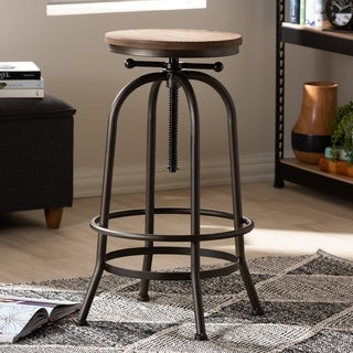 Industrial Rust-Finished Adjustable Swivel Bar Stool by Baxton Studio