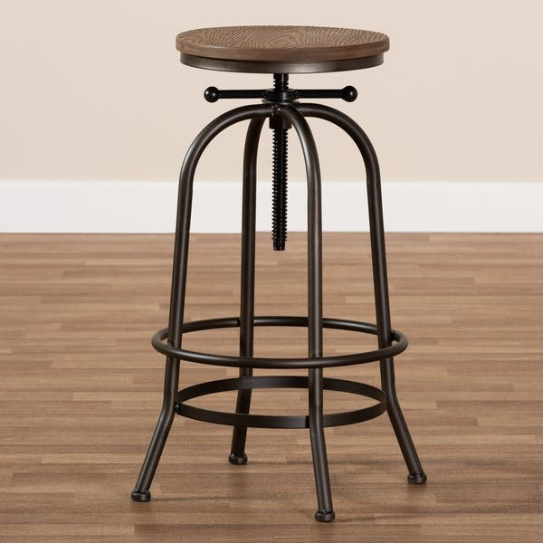 Admirable Shop Industrial Rust Finished Adjustable Swivel Bar Stool By Pabps2019 Chair Design Images Pabps2019Com