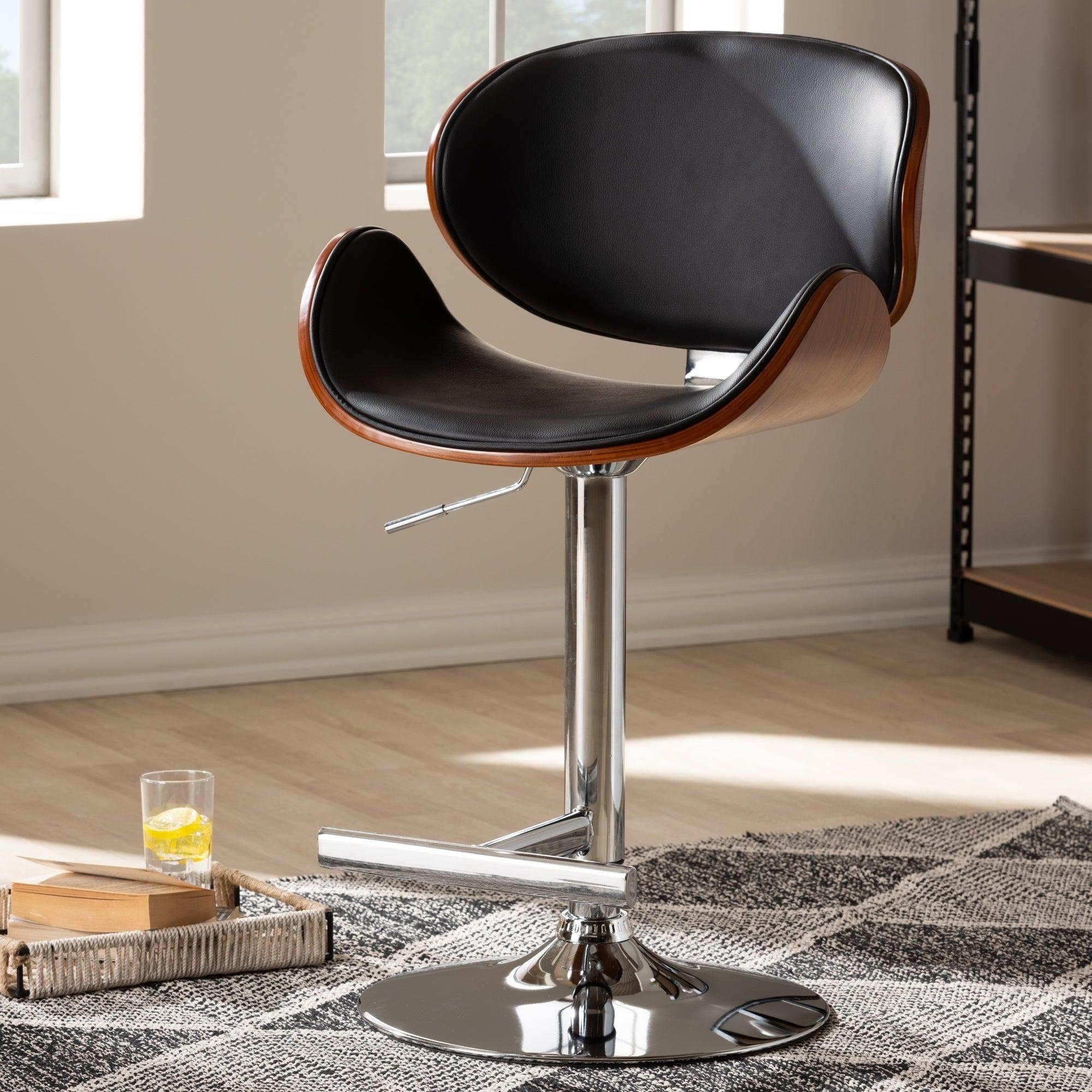 Remarkable Contemporary Black Adjustable Swivel Bar Stool By Baxton Studio Uwap Interior Chair Design Uwaporg