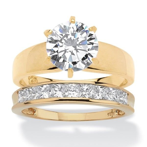 4775b7e00 Shop Gold over Silver Cubic Zirconia Solitaire Engagement Ring Set - White  - Free Shipping Today - Overstock - 24079600