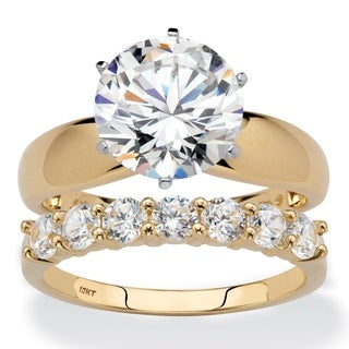 10K Yellow Gold Cubic Zirconia Solitaire Bridal Ring Set - White
