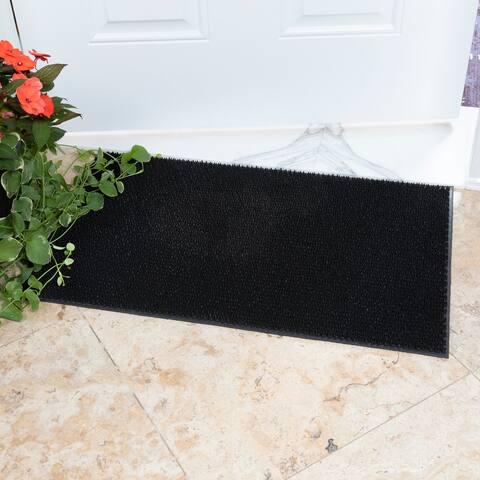 DirtOff Rectangular Black Elanji Pattern Rubber Doormat