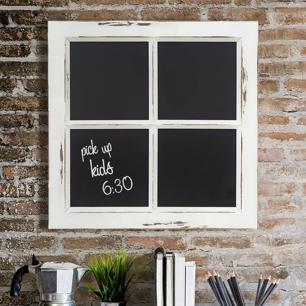 Distressed White Rustic Framed Window Pane Wall Chalkboard