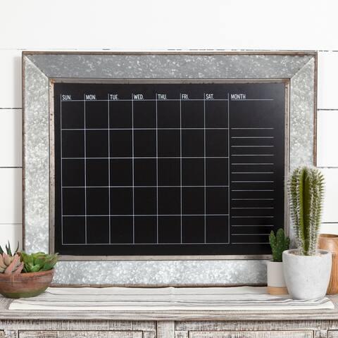 Rustic Galvanized Metal Framed Wall Mount Chalkboard Calendar