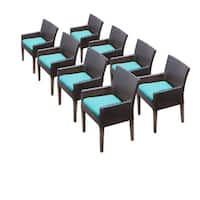 TK Classics Barbados Wicker Dining Chairs with Arms (Set of 8)
