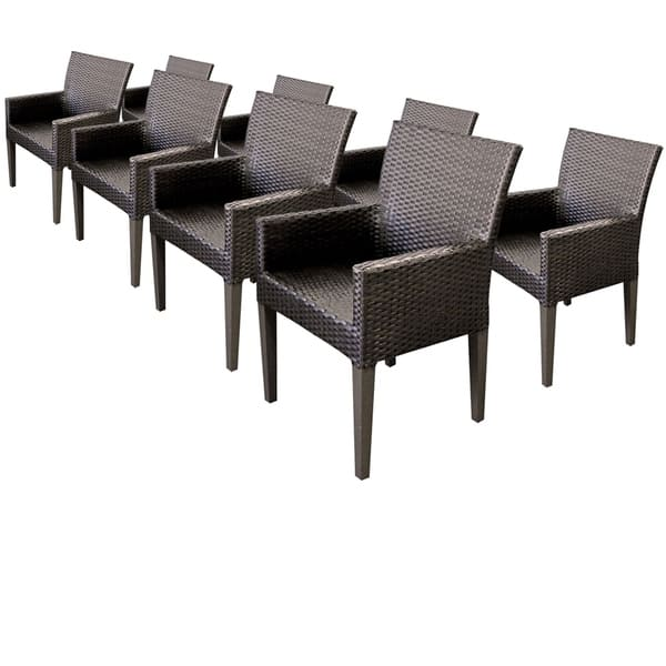 Sensational Tk Classics Barbados Aluminum Resin Wicker Dining Chairs With Arms Set Of 8 Alphanode Cool Chair Designs And Ideas Alphanodeonline