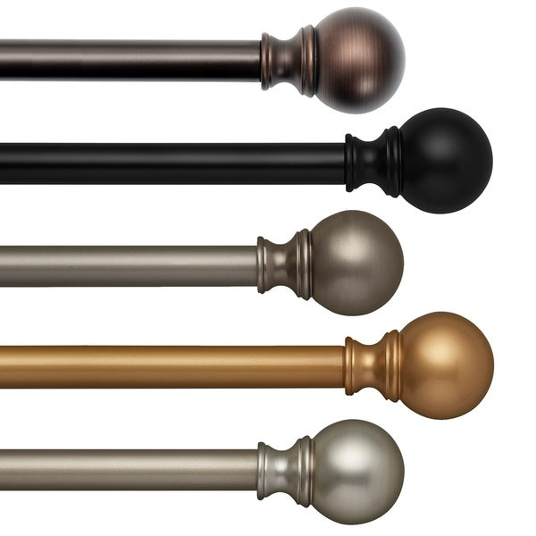 Elrene Cordelia Adjustable Window Curtain Rod and Ball Shaped Finial. Opens flyout.