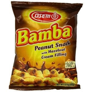 Bamba Hazelnut Cream Peanut Butter Snacks All Natural Peanut Butter PB Corn Puffs, 2.1oz Bag (Pack of 18)