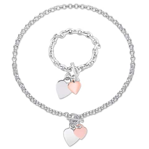 Miadora 2-Tone White and Rose Plated Sterling Silver Heart Charm Necklace and Bracelet 2-Pc Set