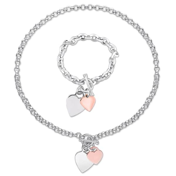 41ccf43d3ce Miadora 2-Tone White and Rose Plated Sterling Silver Heart Charm Necklace  and Bracelet 2