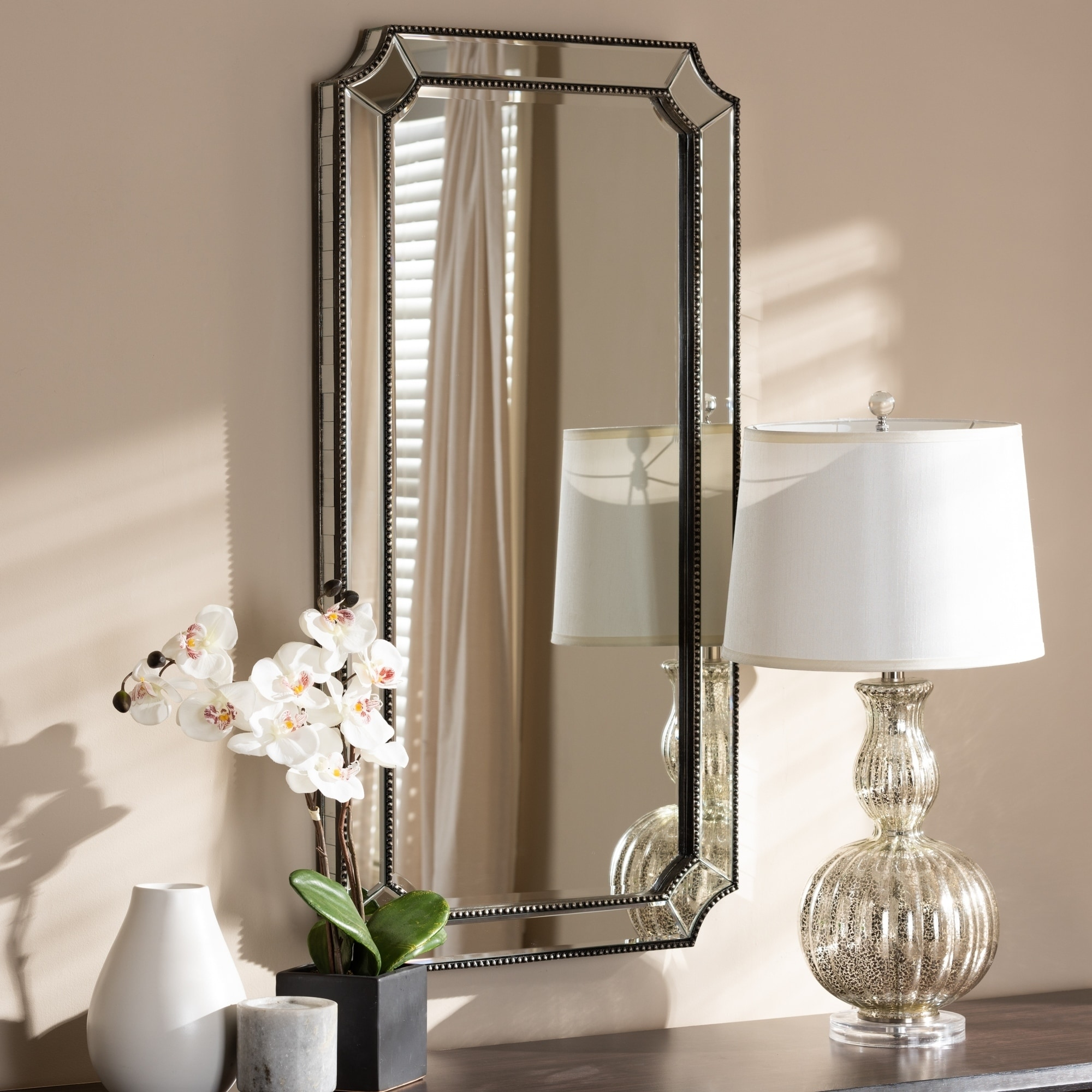 Shop Art Deco Antique Silver Wall Mirror By Baxton Studio Antique Silver On Sale Overstock 24079865
