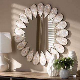 Contemporary Antique Silver Round Wall Mirror by Baxton Studio - Antique Silver