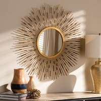 Contemporary Gold Round Wall Mirror by Baxton Studio