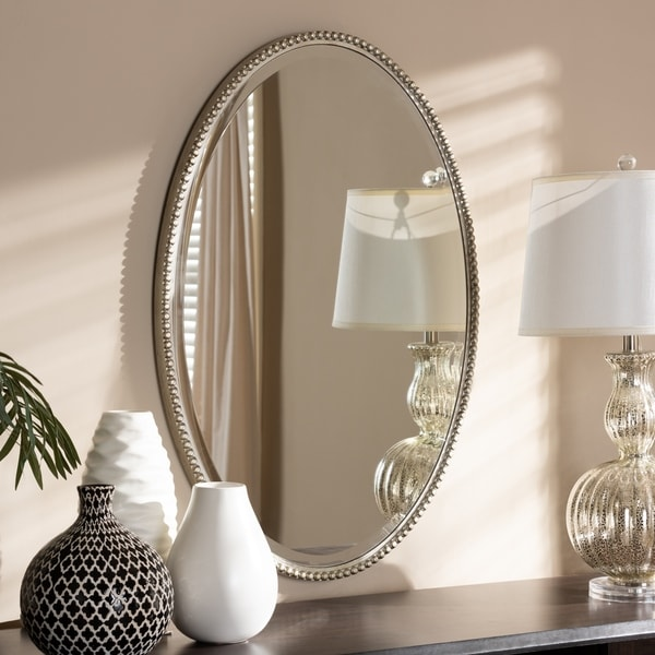 Contemporary Antique Silver Oval Wall Mirror by Baxton Studio - Antique Silver