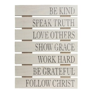 Patton Wall Decor Be Kind Rustic Wood Pallet Wall Art Décor - Grey