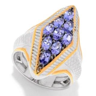 Michael Valitutti Men's Palladium Silver Tanzanite Diamond Shaped Cluster Ring