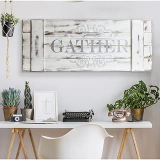 Patton Wall Decor Distressed White Gather Wood Plank Wall Art Décor