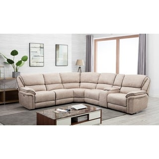 Transitional Fabric Upholstered Power Reclining Sectional
