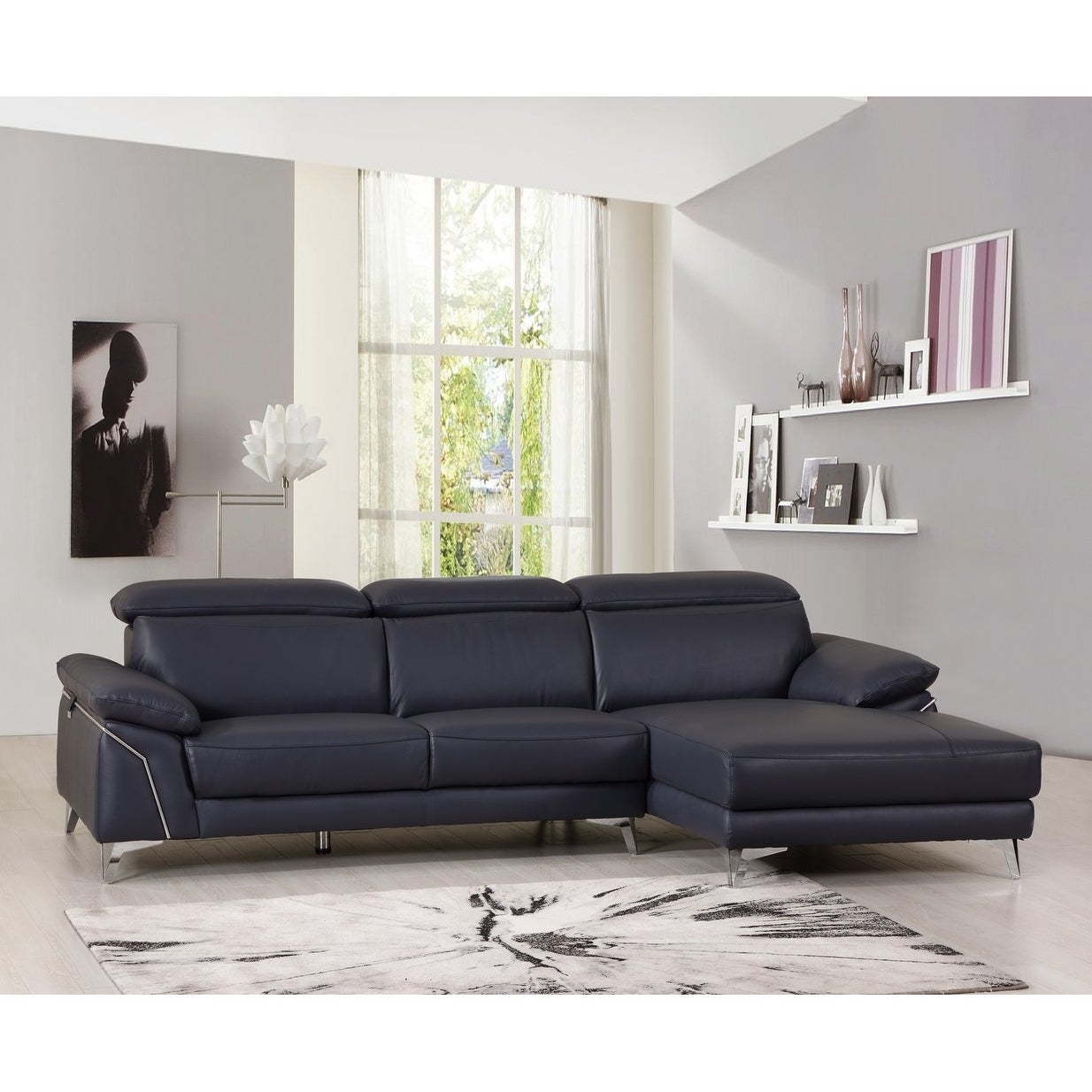 Modern Adjustable Headrest Leather Living Room Sectional Sofa