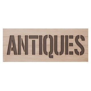 Patton Wall Decor Rustic Antiques Sign Wood Cut Out Wall Decor - White