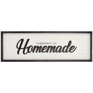 Patton Wall Decor Happiness is Homemade Rustic Wood Framed Wall Art Décor - White