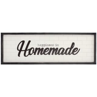 Patton Wall Decor Happiness is Homemade Rustic Wood Framed Wall Art Decor - White