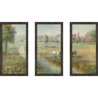"""Tranquil Farm"" Framed Acrylic Wall Art Set - Green"