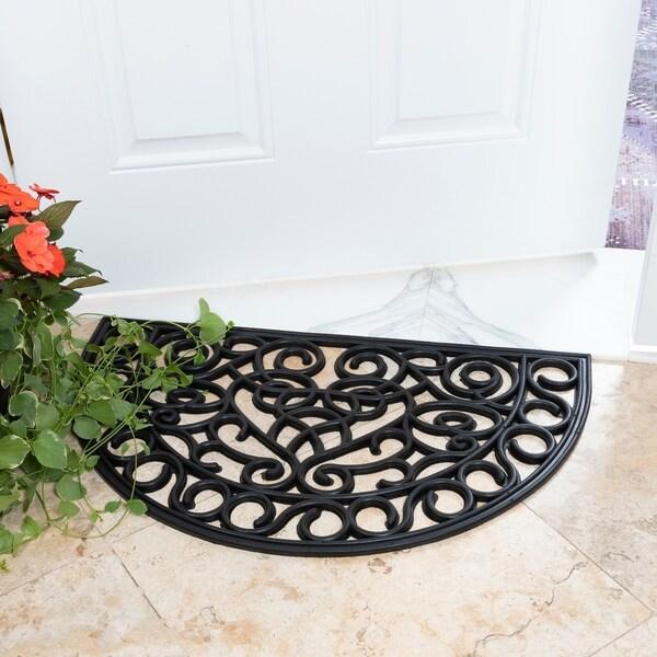 DirtOff Iron Cutout Slice Semi-Circle Black Rubber Doormat