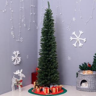6' PVC Unlit Slim Pencil Hinged Artificial Noble Fir Christmas Tree with Metal Stand, 390 Branch Tips - Green