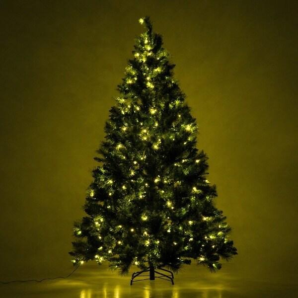 Lead Free Christmas Trees: Shop HomCom 7' Tall Artificial Twinkling White LED Pre-Lit