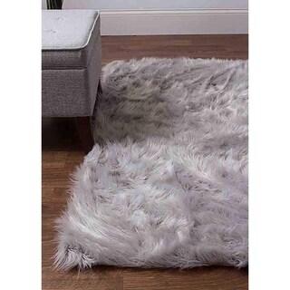 Silver Cozy Soft Plush Faux Sheepskin Solid Shag Grey Area Rug