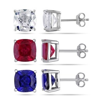 Miadora Sterling Silver Created Ruby & Created Blue & White Sapphire Solitaire Stud Earring Set