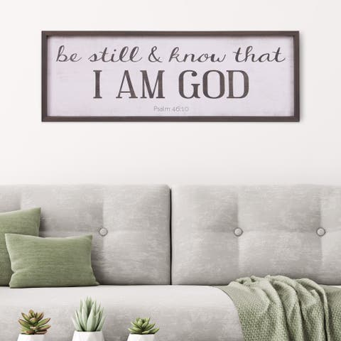 Patton Wall Decor Be Still & Know That I Am God Bible Verse Rustic Wood Framed Wall Art Décor, 12x36 - White