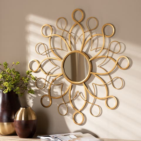 Contemporary Antique Gold Round Wall Mirror by Baxton Studio - Antique Gold