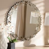 Contemporary Silver Round Petal Leaf Wall Mirror by Baxton Studio - Antique Silver